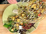 Southwestern-Style Buffalo Chili with Cactus Paddle Salad with Oranges, Peaches and Pecans