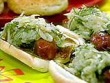 "Grilled Smoked Sausage with Apple Fennel ""Sauerkraut"""