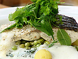 Steamed Sea Bass with Vanilla, Baby Vegetables and Cappuccino Sauce