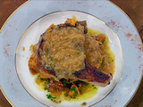 Double-Cut Pork Chops with Caramelized Onion Gravy and Pecan Glazed Sweet Potatoes