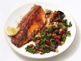 Blackened Trout With Spicy Kale