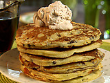 Chocolate Chip Pancakes with Cinnamon Cream