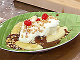 Grilled Banana Splits with Hot Fudge and Rum Caramel Sauce
