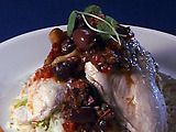 Herb Poached Chicken with Olive Salsa over Basmati Rice