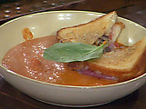 Cream of Tomato Soup with Fontina, Mushroom, Prosciutto and Truffle Grilled Cheese Sandwiches
