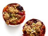 Plum-Nectarine-Blackberry Crumble With Cornmeal-Pistachio Topping