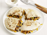 Meatloaf Quesadillas with Cilantro Cream