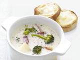 Broccoli Chowder With Cheddar Toasts