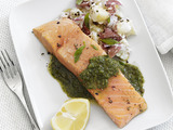 Pesto Salmon and Potatoes
