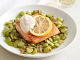Lemon Salmon with Lima Beans