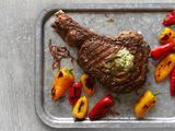Rib-Eye Steak With Herb Butter and Charred Peppers
