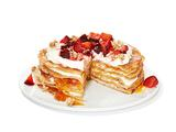 Crepe Cake With Granola and Plums