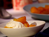 Flambeed Tangerines with Vanilla Ice Cream