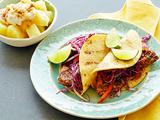 Grilled Chipotle Pork Tacos with Red Slaw and Brown Sugar Pineapple
