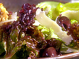 Mixed Green Salad with Herbed Red Wine Vinaigrette and Shaved Parmigiano-Reggiano with Toasted French Bread