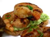 Grilled Shrimp Crostino with an Edamame-Goat Cheese Puree