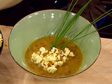 Cheddar and Beer Soup with Spicy Popcorn Garnish