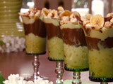 Mixed Pudding Parfaits with Banana Chips and Chocolate Curls