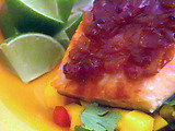 Caribbean Salmon with Guava Barbecue Sauce and Mango Veggie Salsa