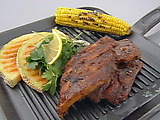 Rory's Ribs with Grilled Corn, Cantaloupe, and Fresh Herb Salad