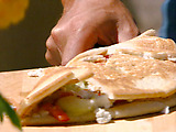 Hummus Piadine with Cucumber and Feta Salad