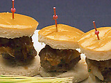 Kobe Bleu Cheese Mini-Burgers with Cipollini Onions in Balsamic Reduction