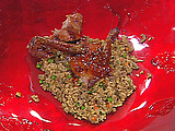 Peking Style Rotisserie Half Duck with Kona Confit Duck Stir-Fry Cashew Rice and Umeboshi Plum Sauce