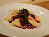 Flambeed Crepes with Mascarpone and Cherries