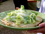 Piadine with Caesar Salad and Roasted Garlic Paste