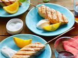 Spiced Salmon Kebabs with Yogurt Sauce