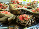 Grilled Artichoke with Smoked Tomato Vinaigrette
