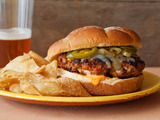 Latin Burgers with Caramelized Onion and Jalapeno Relish and Red Pepper Mayonnaise