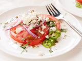 Vine-ripe Tomato Salad with Queso Fresco, Cilantro, and Serrano