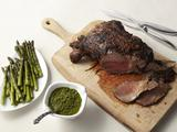 Grilled Marinated Leg of Lamb with Asparagus and Mint Chimichurri