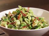 Spinach-Ricotta Pesto Pasta with Crisp Prosciutto and Asparagus