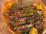 Grilled Razor Clams with Meyer Lemon-Chive Vinaigrette