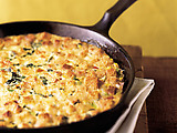 Skillet Cornbread Pudding with Ham and Pepper Jack