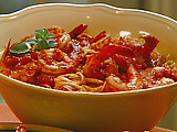Shrimp Marinara over Linguine