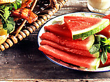 Watermelon Slices With Lime-Honey Syrup