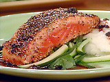 Mustard Pepper Salmon with Red Wine Sauce
