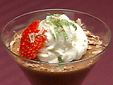 Chocolate Mousse with Whipped Cream and Strawberries