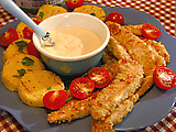 Parmesan-Crusted Chicken with Creamy Honey-Mustard Dip