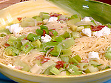 Sauteed Leeks with Prosciutto and Goat Cheese over Capellini
