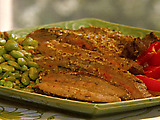 Flank Steak with Sauteed Edamame and Wasabi-Mustard Dressing