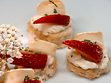 Brie with Strawberries on Brioche Crostini