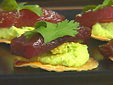 Marinated Raw Tuna with Edamame Puree and Wonton Crisps