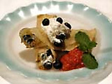 Crepes with Blueberry Stuffing and Rhubarb Compote