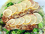 Sea Bass with Mustard Crust with Garlic-Parmesan Broccoli