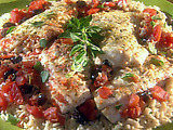 Pan-Seared Sea Bass with Olives, Tomatoes and Oregano Brown Rice