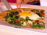 Egg, Ham and Spinach Pizza